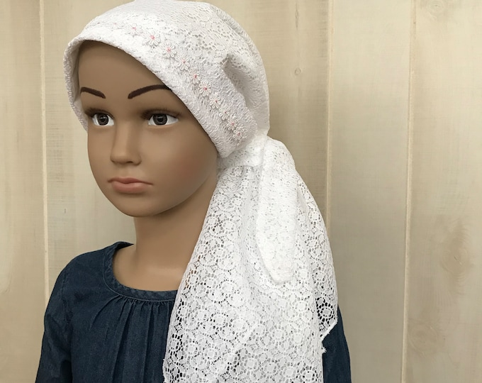 Featured listing image: Children's Pre-Tied Head Scarf, Girl's Cancer Hat, Chemo Head Cover, Alopecia Headwear, Head Wrap, Cancer Gift, Hair Loss, White Lace