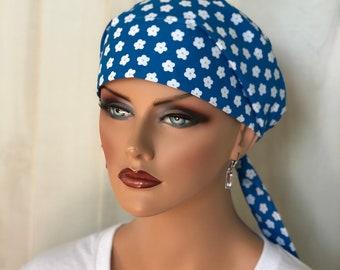 Women's Surgical Scrub Cap, Scrub Hat, Cancer Head Scarf, Chemo Headwear, Alopecia Head Cover, Head Wrap, Cancer Gift, White Flowers on Blue
