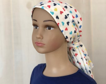 Children's Pre-Tied Head Scarf For Girls With Hair Loss, Gift For Daughter, Chemo Hat, Rainbow Hearts