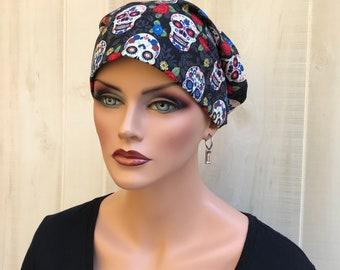 Women's Surgical Scrub Cap, Scrub Hat, Cancer Head Scarf, Chemo Headwear, Alopecia Head Cover, Head Wrap, Hair Wrap, Sugar Skulls