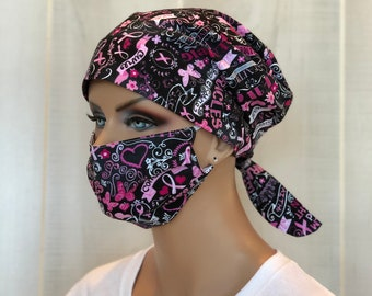 Surgical Cap Women, Face Mask, Nurse Gift, Head Scarf, Breast Cancer Awareness, Chalkboard Black