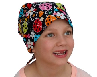 Mia Children's Head Cover, Girl's Cancer Headwear, Chemo Scarf, Alopecia Hat, Head Wrap, Cancer Gift for Hair Loss - Tulip Lady Bugs