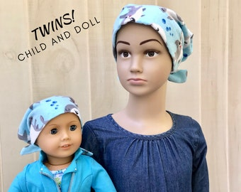 Child And Doll Flannel Head Scarf For Girls With Hair Loss, Gift For Daughter, Chemo Hats, Baby Sharks