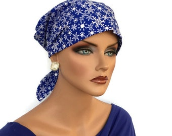 Women's Surgical Scrub Cap, Scrub Hat, Cancer Head Scarf, Chemo Headwear, Alopecia Head Cover, Head Wrap, Hair Loss Gift, Blue Snowflakes