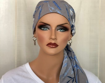 Pre-Tied Head Scarf For Women With Hair Loss. Cancer Headwear, Chemo Hat, Alopecia Head Cover, Turban, Hair Wrap, Head Wrap, Gray Floral