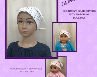 Children's Doll Head Scarf, Matching Doll Hat To Mia Scarf, Hat, Head Cover, Head Wrap, Cancer, Chemo, Alopecia, Hair Loss, Teal Blue Flower