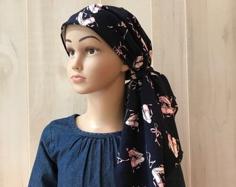 Pre-Tied Head Scarf, Childhood Cancer, Ages 5 - 11, Chemo Headwear, Cancer Gifts, Pink Ballet Shoes