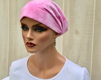 Women's Flannel Head Scarf, Cancer Headwear, Chemo Hat, Alopecia Head Cover, Head Wrap, Turban, Hair Loss, Cancer Gift, Pink Clouds