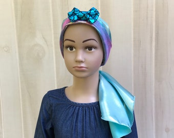 Child's Pre-Tied Head Scarf, Girl's Chemo Hat, Cancer Head Cover, Alopecia Headwear, Cancer Gift, Hair Loss, Blue Mermaid