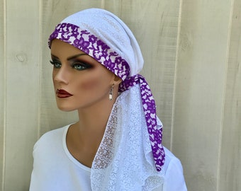 Pre-Tied Head Scarf For Women With Hair Loss. Cancer Headwear, Chemo Head Cover, Alopecia Hat, Head Wrap, Turban, White And Purple Lace