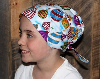 Mia Children's Head Cover, Girl's Cancer Headwear, Chemo Scarf, Alopecia Hat, Head Wrap, Cancer Gift for Hair Loss - Hot Air Balloons