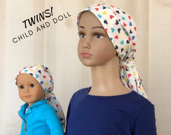 Matching Child's Head Scarf And Doll Hat For Girls With Hair Loss, Childhood Cancer, Chemo Hat, Cancer Gift, Alopecia,  Colorful Hearts
