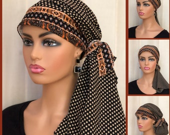 Pre-Tied Head Scarf For Women With Hair Loss, Breast Cancer Gifts, Head Wrap, Boho Black Gold