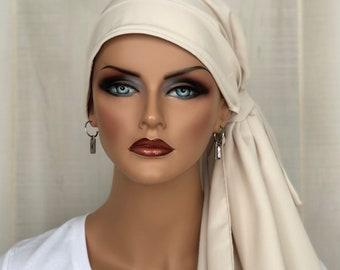 Pre-Tied Head Scarf For Women, Chemo Headwear, Cream, Breast Cancer Gifts