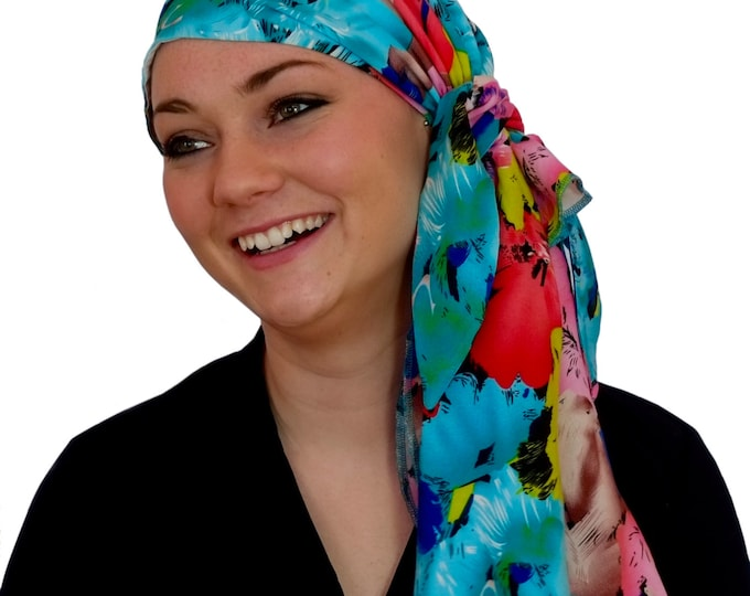 Featured listing image: Jessica Pre-Tied Head Scarf, Women's Cancer Headwear, Chemo Scarf, Alopecia Hat, Head Wrap, Head Cover for Hair Loss - Aqua Tropical