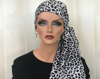 Animal Print Pre-Tied Head Scarf For Women With Hair Loss, Cancer Gifts, Chemo Headwear, Snow Leopard
