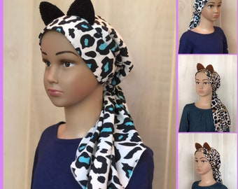 Cheetah Chemo Headwear For Girls With Hair Loss, Animal Print Chemo Hat, Childhood Cancer, Cancer Gifts