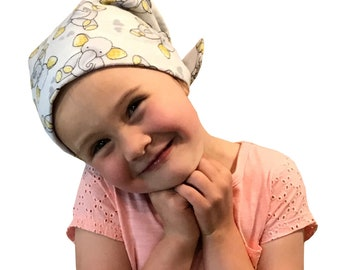 Jaye Children's Flannel Head Scarf, Girl's Cancer Hat, Chemo Head Cover, Alopecia Hat, Head Wrap, Cancer Gift, Hair Loss - Elephants