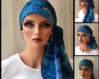 Tie Dye Pre-Tied Head Scarf For Women With Hair Loss, Cancer Gifts, Chemo Headwear, Blue Tie Dye