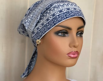 Head Scarf For Women With Hair Loss, Cancer Gifts, Chemo Headwear, Slate Blue Bohemian