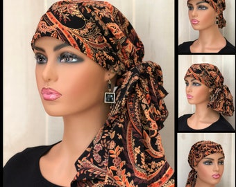 Fall Pre-Tied Head Scarf For Women, Cancer Gifts, Paisley Chemo Head Wrap