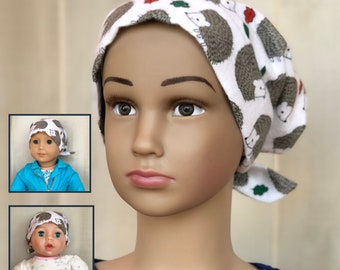 Hedgehog Flannel Hat For Girls With Hair Loss, Matching Doll Hat, Childhood Cancer, Cancer Gifts, Chemo Hats