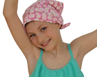 Mia Children's Head Cover, Girl's Cancer Headwear, Chemo Scarf, Alopecia Hat, Head Wrap, Cancer Gift for Hair Loss - Pink Daisies