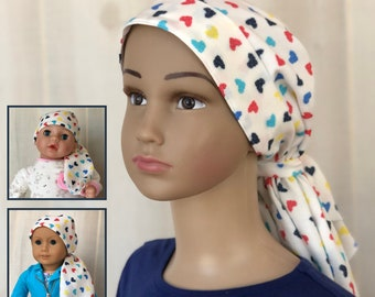 Rainbow Hearts Chemo Hats For Girls With Hair Loss, Matching Doll Hat, Ages 4 - 11, Childhood Cancer, Cancer Gifts