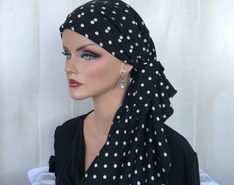 Pre-Tied Head Scarf For Women With Hair Loss, Cancer Gifts,  Polka Dot Head Wrap