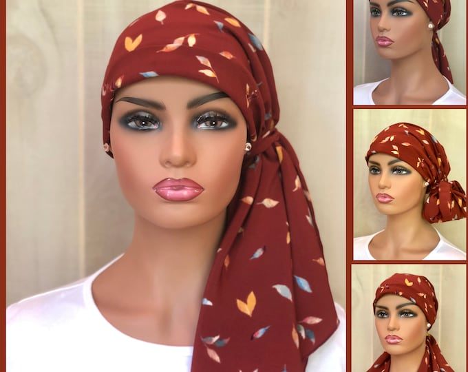 Featured listing image: Pre-Tied Head Scarf, Autumn Leaves, Fall Chemo Head Wrap For Women With Hair Loss, Breast Cancer Gifts,