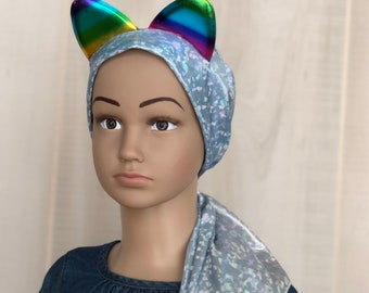 Rainbow Kitten Chemo Headwear For Children With Hairloss, Childhood Cancer, Gift For Daughter, Iridescent Blue and Silver