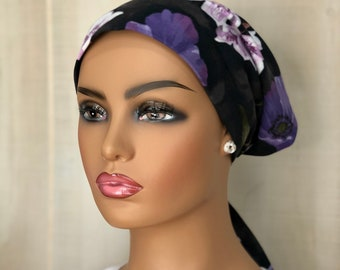 Cancer Head Scarf For Women With Hair Loss, Gift For Mom, Black Purple Floral Headwrap