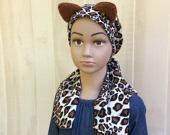Cheetah Chemo Headwear For Girls, Childhood Cancer, Cancer Gifts