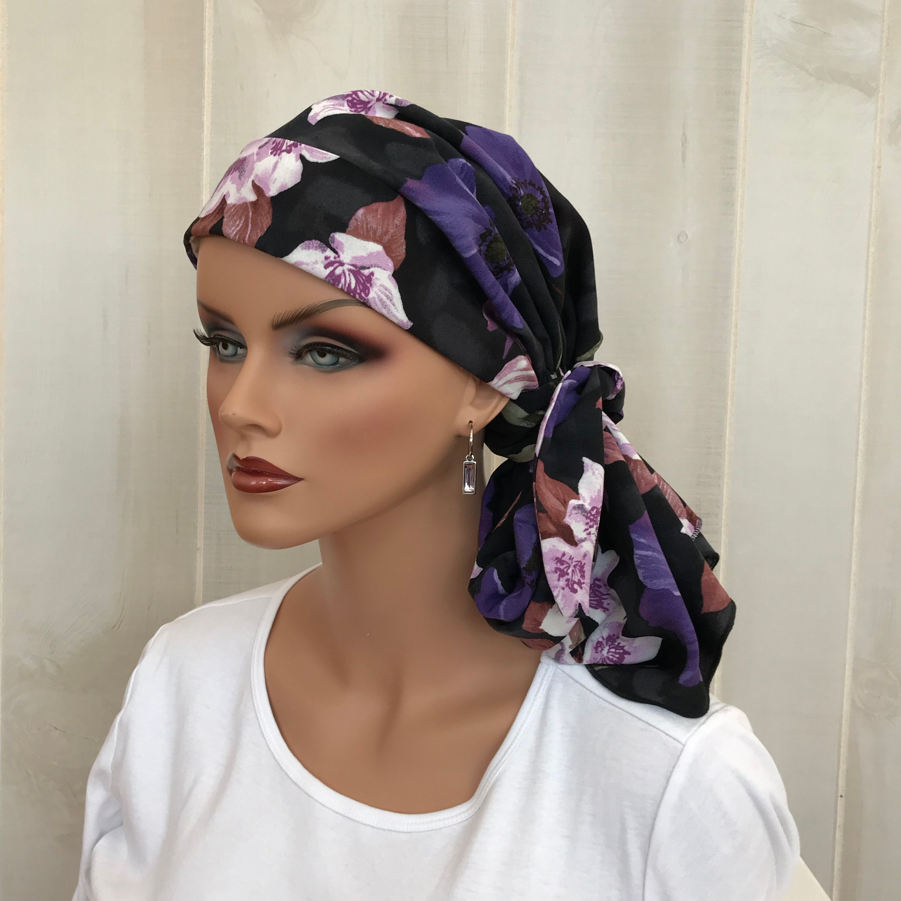 Chemo Hat Turban PURPLE FLAMES Hair Loss Hat   Alopecia Scarf Cancer Hat