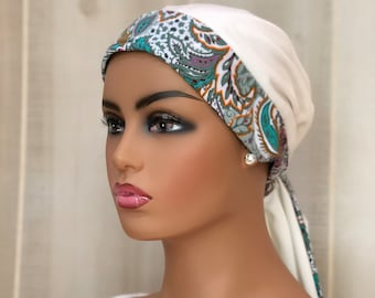 Paisley Chemo Head Wrap For Women With Hair Loss, Cancer Gifts, Winter White, Sage