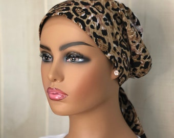 Animal Print Cancer Head Scarf For Women With Hair Loss, Gift For Wife, Brown Cheetah Headwrap