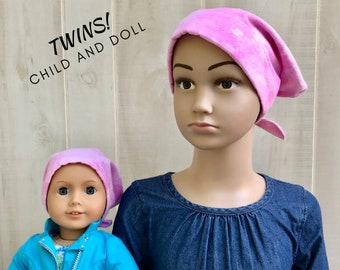 Child's Flannel Hat For Girls With Matching Doll Hat, Childhood Cancer, Cancer Gifts, Kid's Chemo Hat