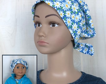 Chemo Hats For Girls With Hair Loss, Matching Doll Hat, Childhood Cancer, Cancer Gifts, Daisies Chemo Headwear