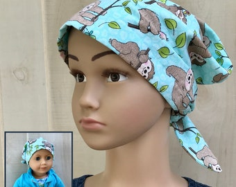 Sloths Chemo Hat For Toddlers, Matching Doll Hat, Childhood Cancer, Cancer Gifts