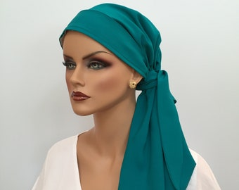 Fall Pre-Tied Head Scarf, For Women With Hair Loss, Teal Green Head Wrap, Cancer Gifts,