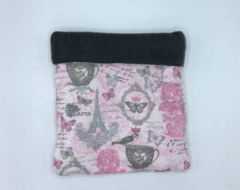 Flannel Sleep Sack, Cuddle Sack, Pink and Grey Paris Tea, for Hedgehog, Sugar Glider, Guinea Pig, Rats, and other Small Animals
