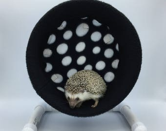 Wheel Cover, Black with White Polka Dots, with Waterproof back, for Hedgehogs, Rats, and other Small Animals