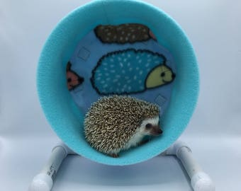 Wheel Cover, Light Blue Hedgehogs Fleece, with Waterproof back, for Hedgehogs, Rats, and other Small Animals