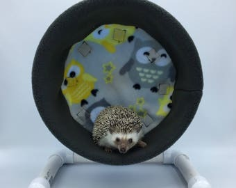 Wheel Cover, Grey and Yellow Owls Fleece, with Waterproof back, for Hedgehogs, Rats, and other Small Animals