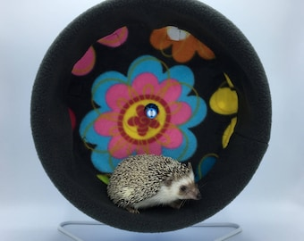 Wheel Cover, Flowers on Grey Fleece, with Waterproof back, for Hedgehogs, Rats, and other Small Animals