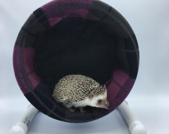 Wheel Cover, Pink and Grey Plaid Fleece, with Waterproof back, for Hedgehogs, Rats, and other Small Animals