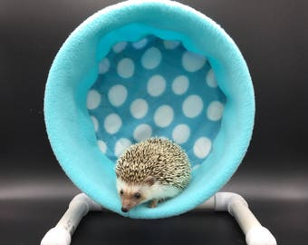 Wheel Cover, Light Blue Polka Dots Fleece, with Waterproof back, for Hedgehogs, Rats, and other Small Animals