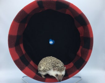 Wheel Cover, Red Plaid Fleece, with Waterproof back, for Hedgehogs, Rats, and other Small Animals