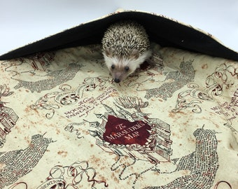 """Waterproof Lap Blanket w/ Hide, Marauder's Map, Harry Potter, 23""""x23"""", for hedgehogs, guinea pigs, rats, and small animals"""
