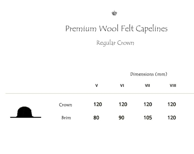 Wholesale | Premium Wool Felt Hat Bodies | Capelines | Regular Crown | Up to 4 Colors | Made to Order